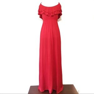 Forever 21 Red Ruffle Front Maxi Dress Size Medium